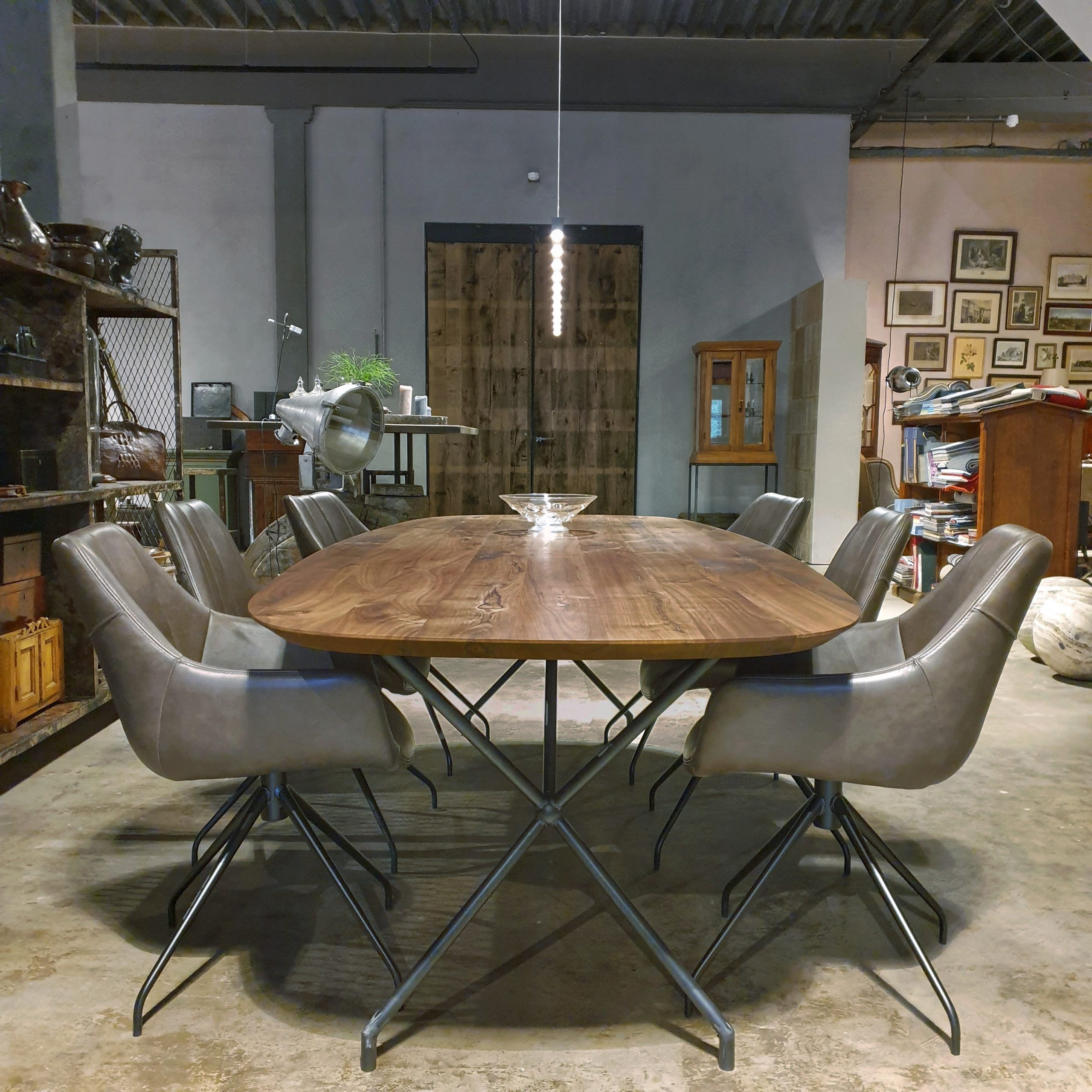 black oval dining room table