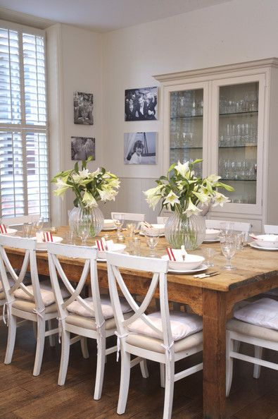 white painted dining table and chairs