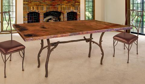 copper top dining room tables