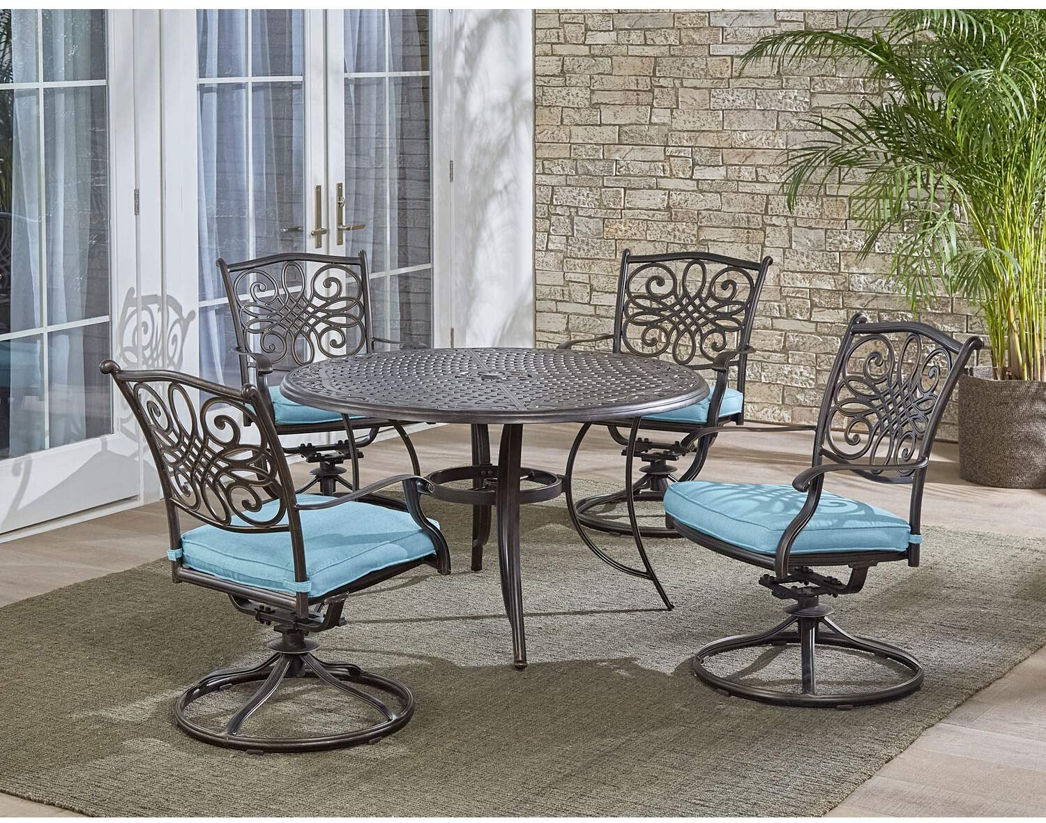 outdoor dining sets with swivel chairs