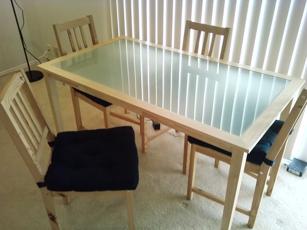 round frosted glass dining table