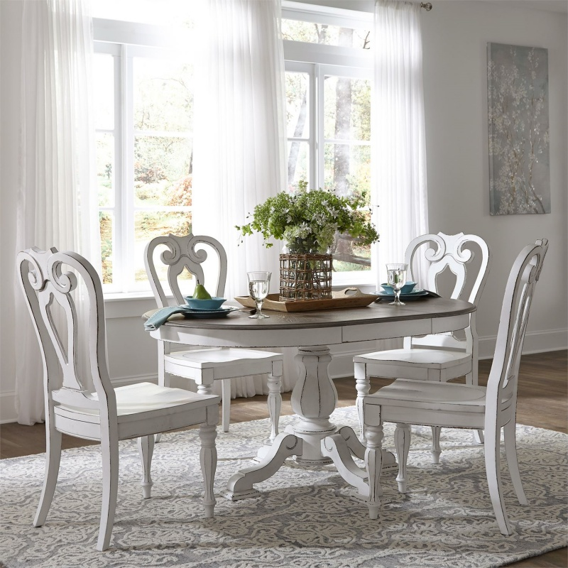 antique white round dining table set