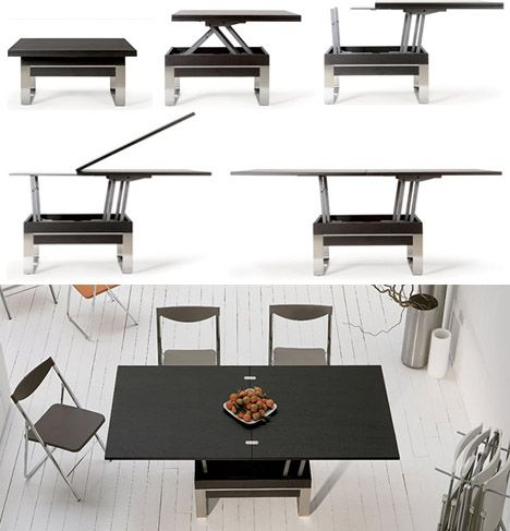 coffee table transforms into dining table