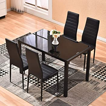 wooden glass dining table set