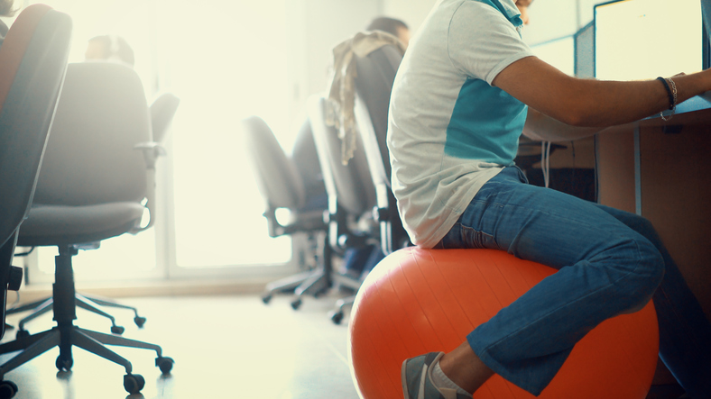 exercise ball as office chair