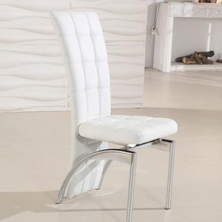 white leather and chrome dining chairs