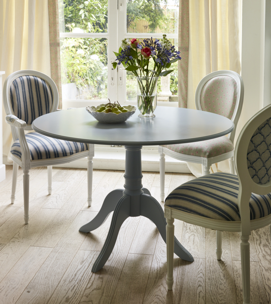 painted round pedestal dining table