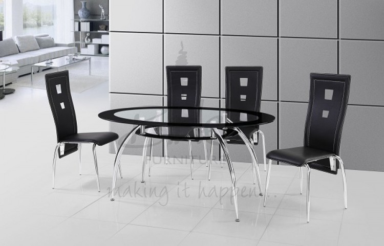 black glass dining table and chairs