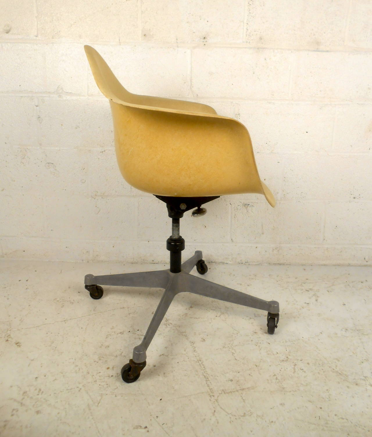 lucite office chair on wheels