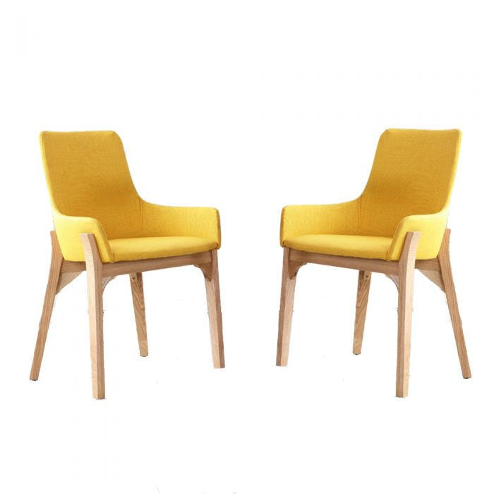 yellow upholstered dining chair