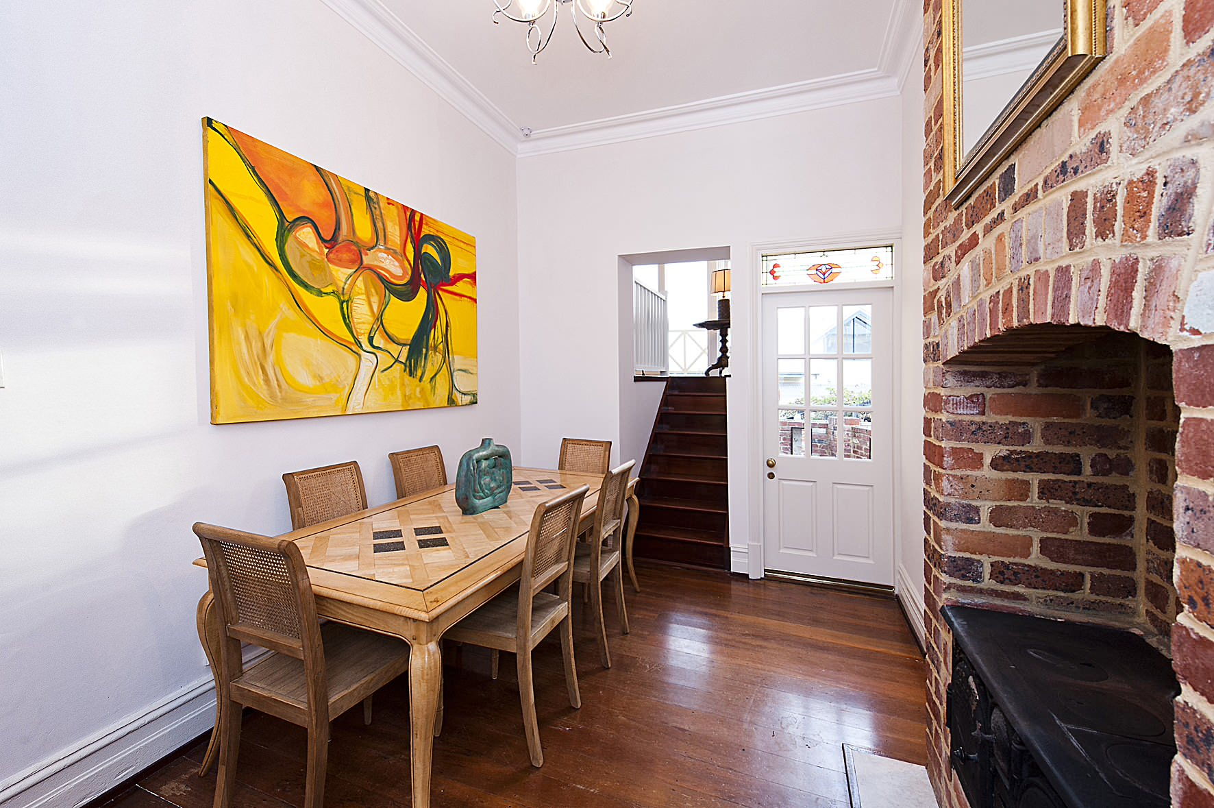 dining room table against wall