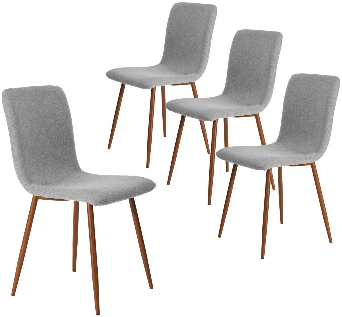 Amazon Com Dining Chairs Kitchen Chairs Set Of 4 Modern Dining Room Side Chairs With Fabric Cushion Seat Back Mid Century Living Room Chairs With Brown Metal Legs Gray Kitchen Dining