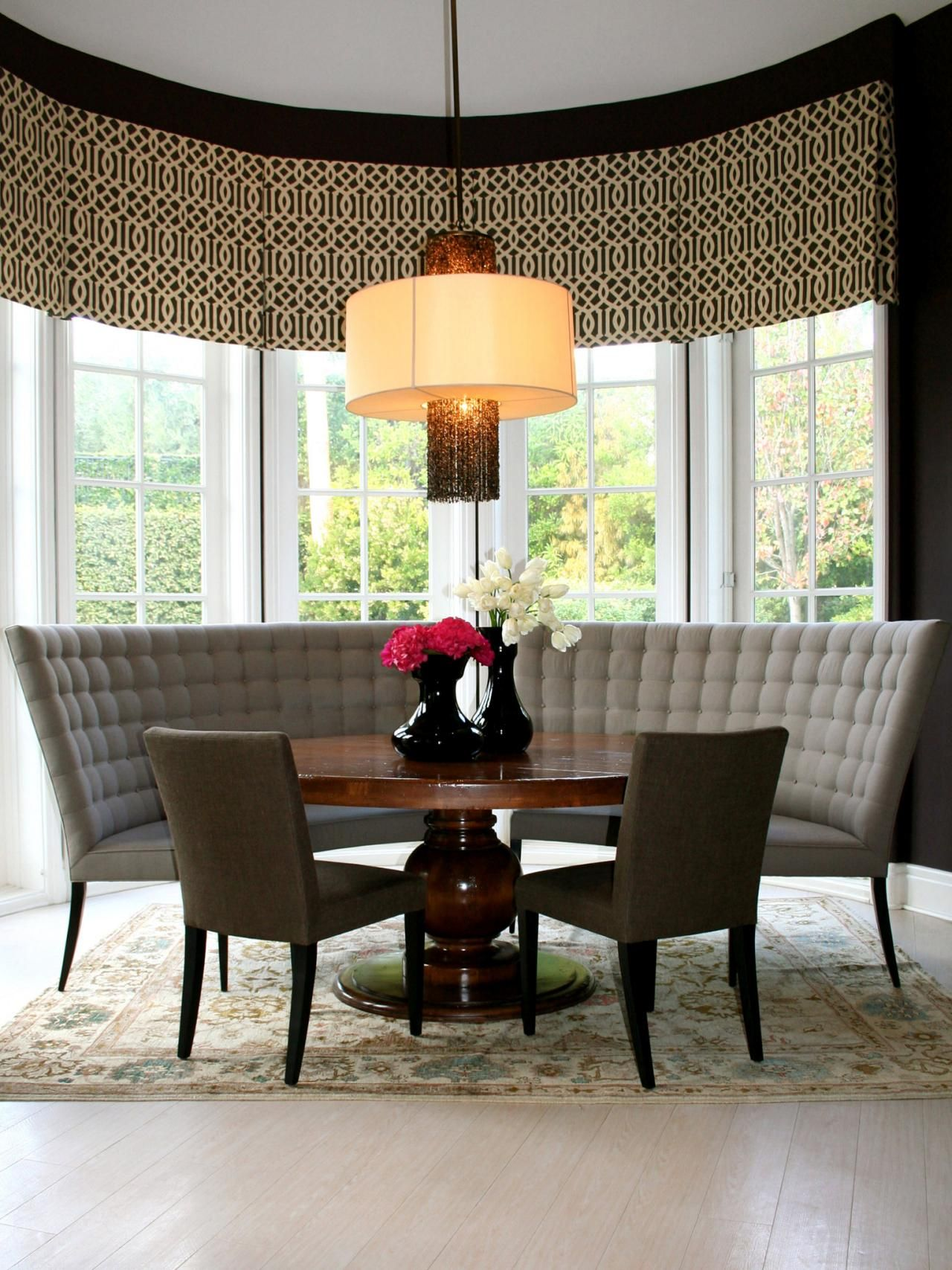 round dining table bench seating