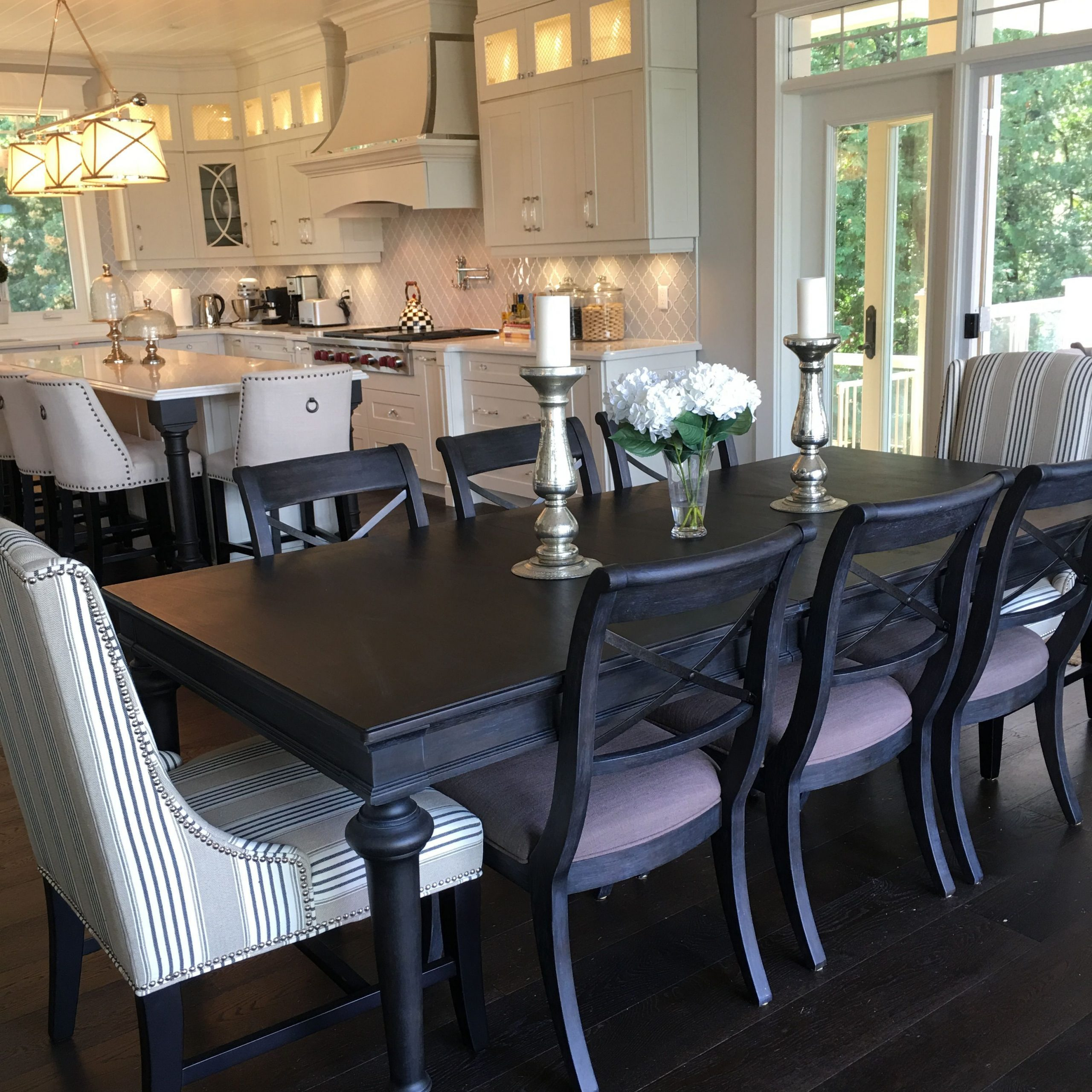 dining table with padded chairs