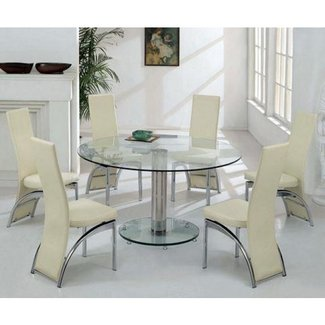modern round glass dining table for 6