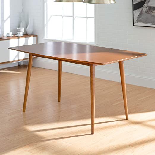 brown wood weston mid century fixed dining table
