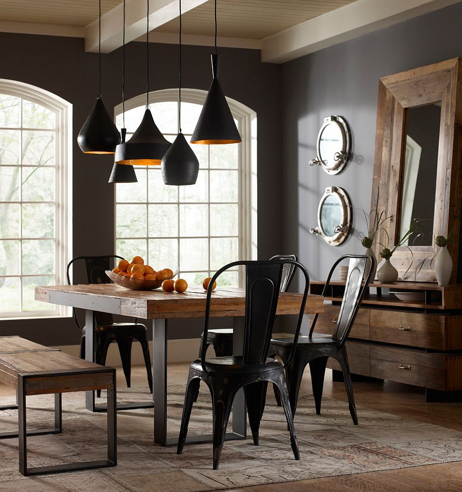 industrial style dining table decor