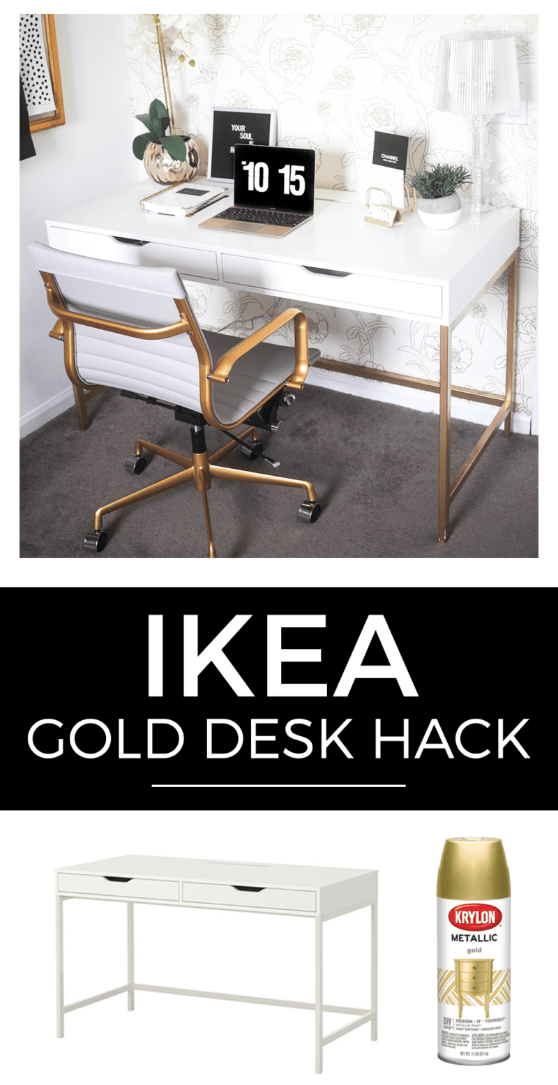 white office chair with gold legs
