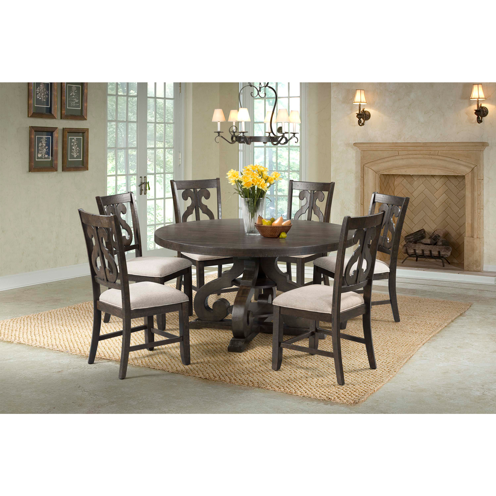 six chair round dining table