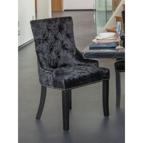 black crushed velvet dining chairs