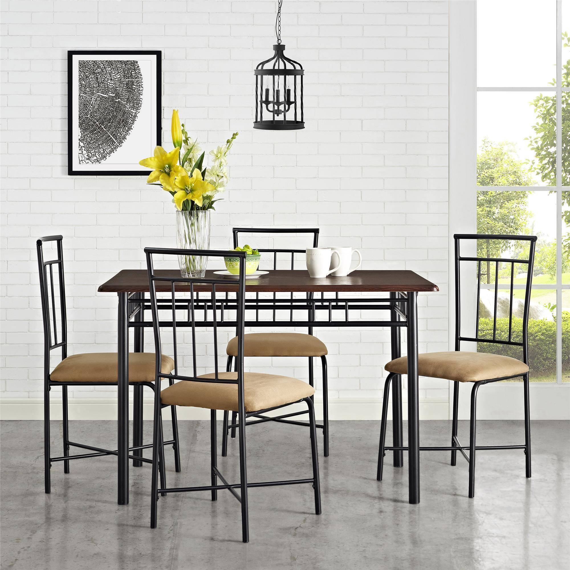 metal dining table and chairs