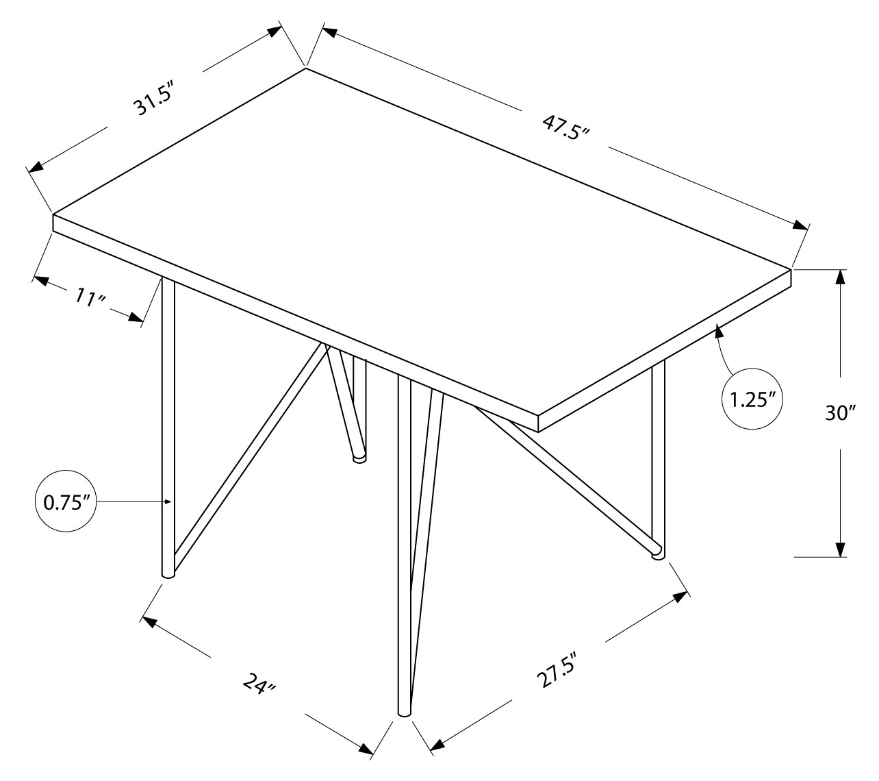 32 inch dining table