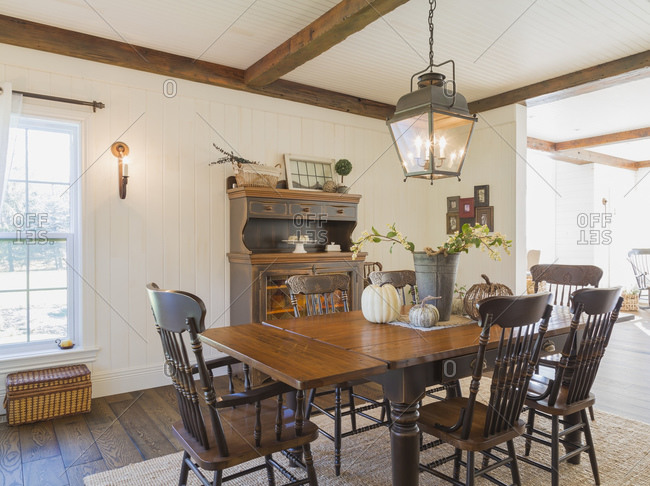 dining table with chairs inside