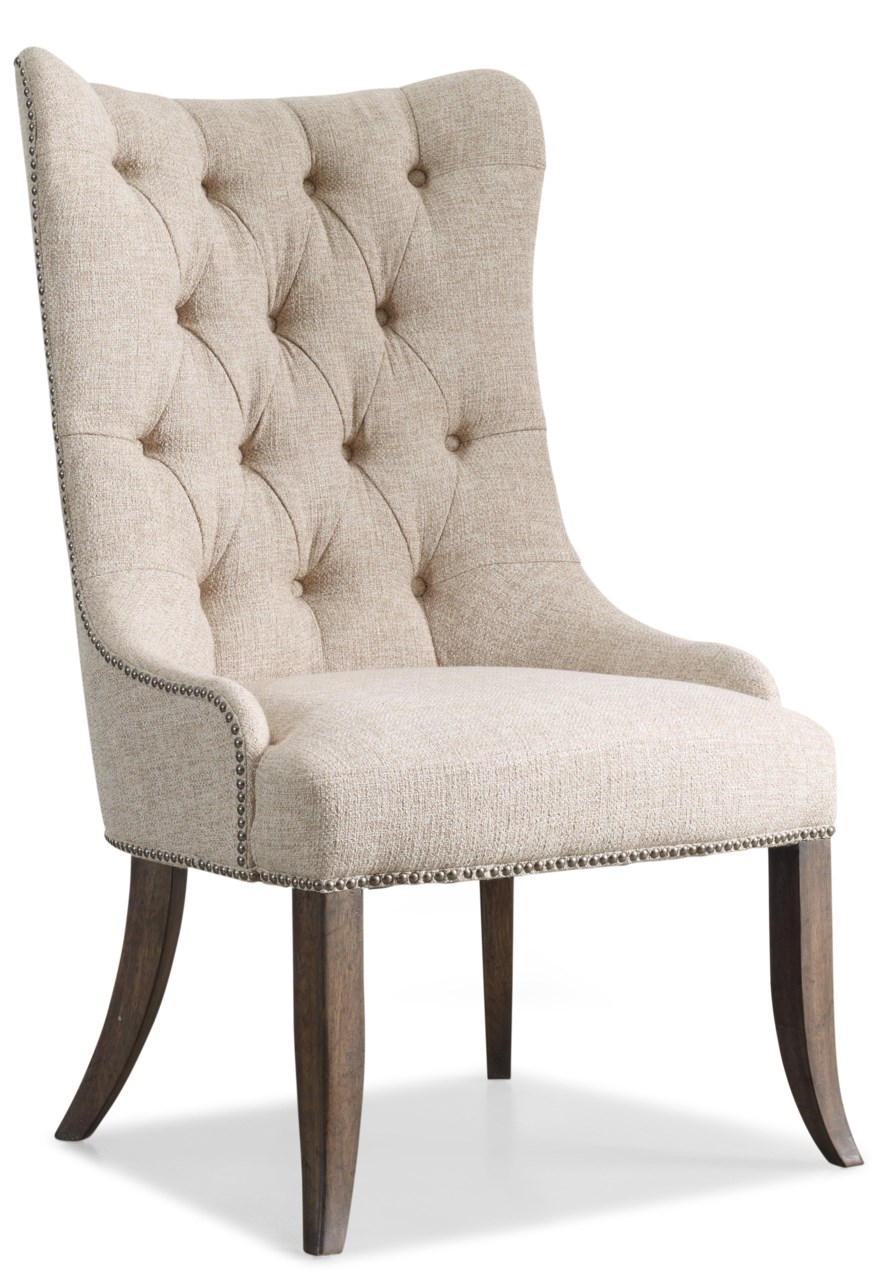 tufted dining chair with nailhead trim