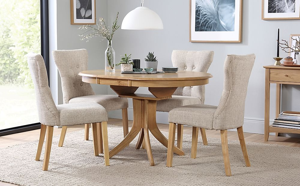 Hudson Round Oak Extending Dining Table With 4 Bewley Oatmeal Fabric Chairs Furniture And Choice