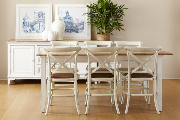 dining table white legs timber top
