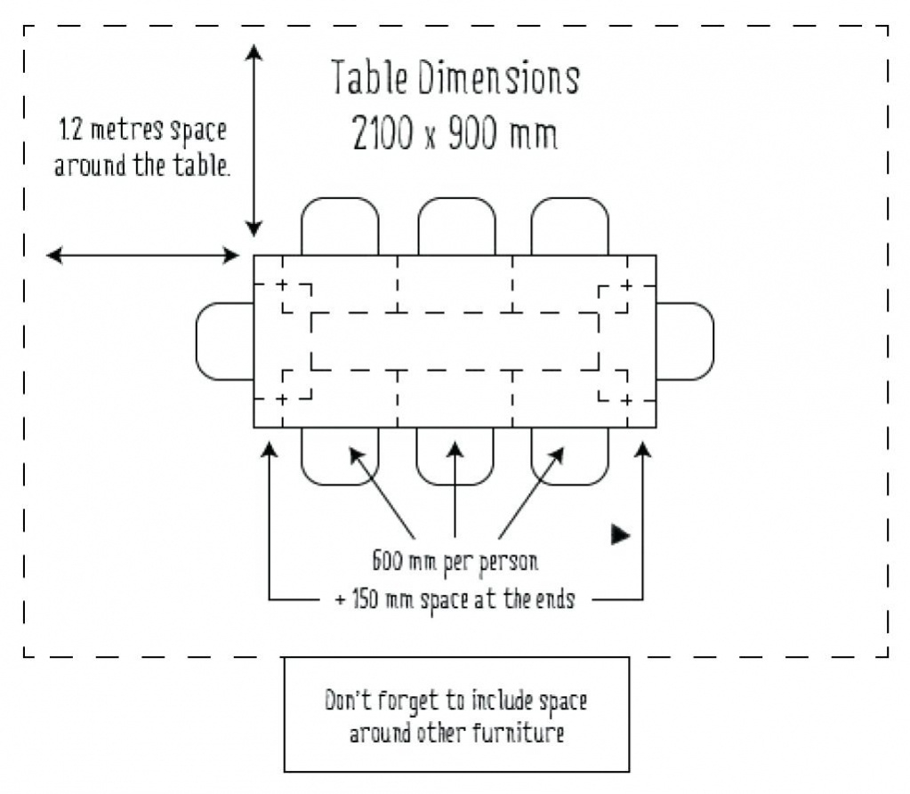 dining table standard size in meters