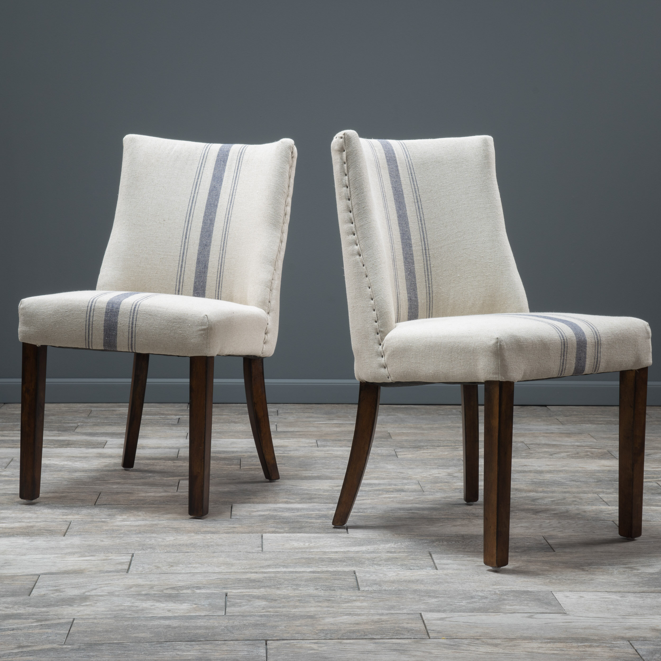 striped upholstered dining chairs
