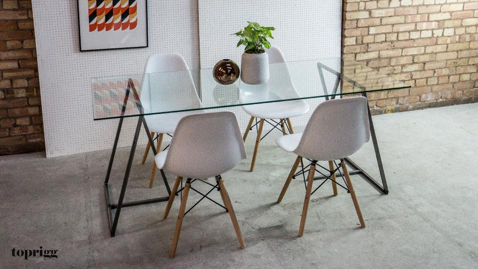 glass top trestle dining table