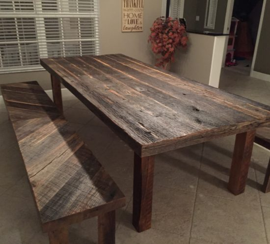 reclaimed barn wood dining tables